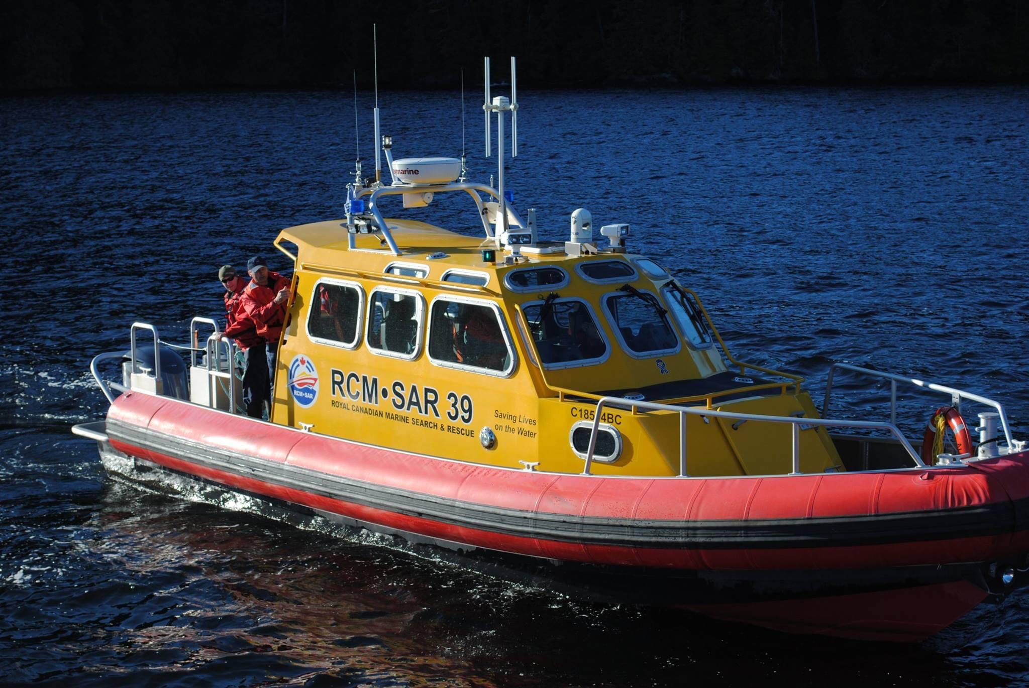 A Royal Canadian Marine Search and Rescue vessel patrols the waters around Port Alberni. (NEWS FILE PHOTO)