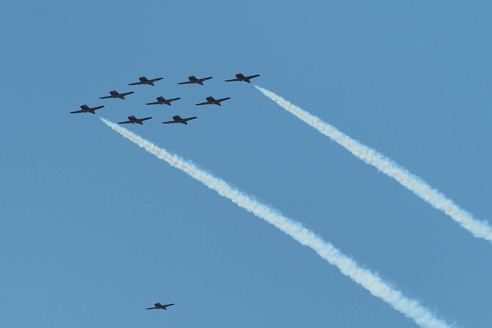 The CF Snowbirds air demonstration team flew over Nanaimo Regional General Hospital on Monday, July 19, as part of Operation Inspiration. (Chris Bush/News Bulletin)